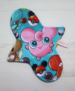 9″ Regular Flow cloth pad | Catch Em All Cotton Jersey | Blue Wind Pro Fleece | Luna Landings | Sub