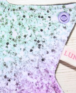 9″ Regular Flow cloth pad | Pink and Green Ombre Cotton Jersey | Grey Wind Pro Fleece | Luna Landings | Sub