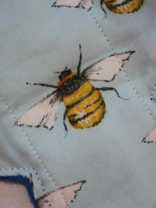 10″ Liner cloth pad | Honey Bees on Blue Cotton | Blue Wind Pro Fleece | Luna Landings | Slim Sub