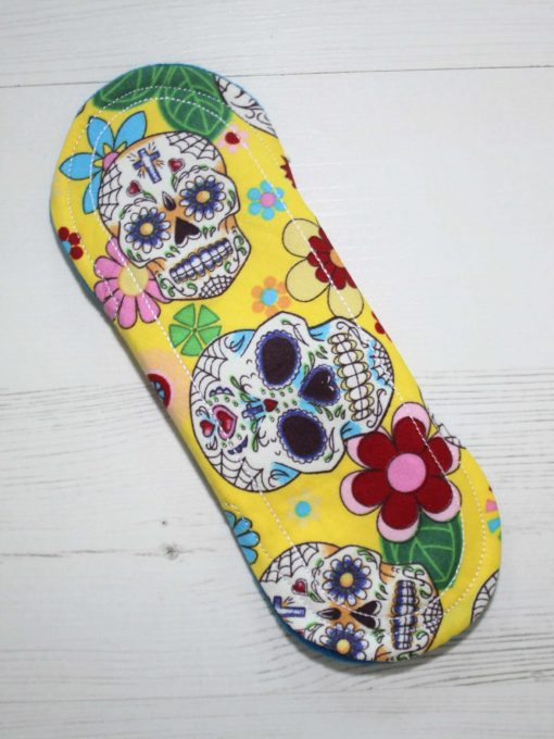 8-inch-Liner-cloth-menstrual-pad-Day-of-the-Dead-Yellow-Cotton-and-Blue-Wind-Pro-Fleece-Luna-Landings-Sub_5.jpg_5-scaled