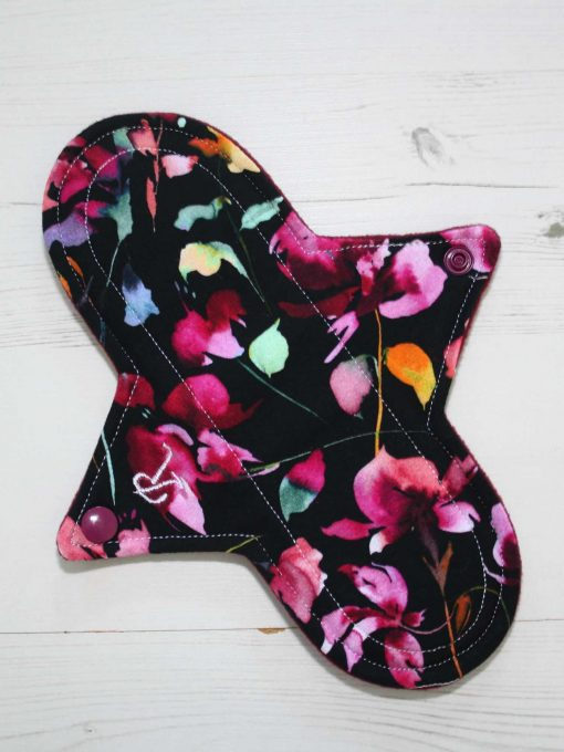 "9"" Regular Flow cloth pad | Midnight Meadow Cotton Jersey | Burgundy Wind Pro Fleece | Luna Landings | Sub"