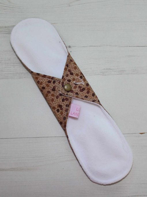 12″ Light Flow cloth pad | Mocha Beans Cotton | White Soft Shell | Luna Landings | Sub