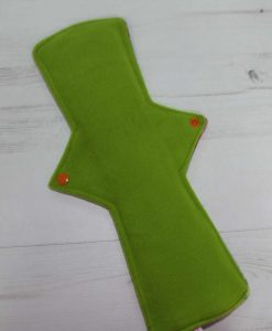 14″ Heavy Flow cloth pad | Solstice Cotton Jersey | Green Wind Pro Fleece | Luna Landings | Double Flare
