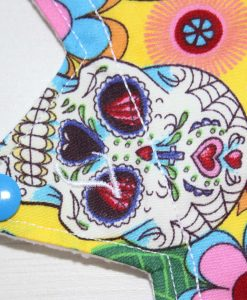 9″ Light Flow cloth pad | Day of the Dead Yellow Cotton | White Soft Shell | Luna Landings | Slim Sub