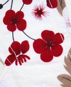 9″ Light Flow cloth pad | Flowers on Ivory Cotton | White Soft Shell | Luna Landings | Slim Sub