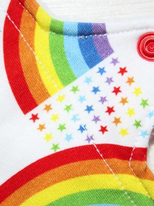 6″ Liner cloth pad | Rainbow Star Bridge White Cotton Jersey | White Polar Fleece | Luna Landings | Sub