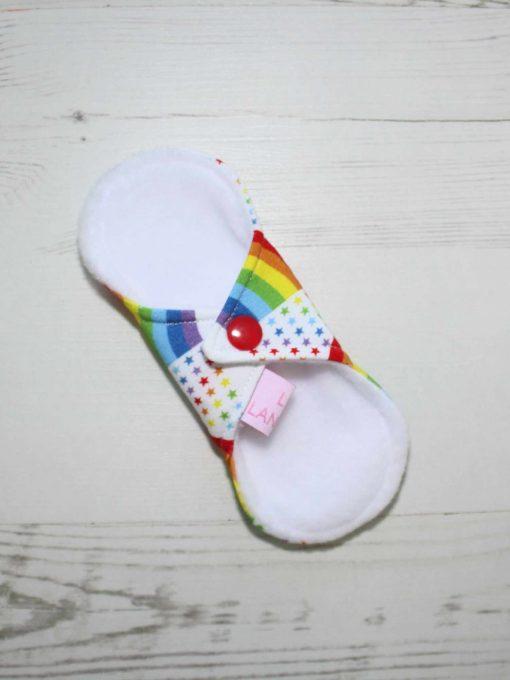 "6"" Liner cloth pad   Rainbow Star Bridge White Cotton Jersey   White Polar Fleece   Luna Landings   Sub"