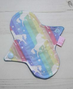 6″ Liner cloth pad | Soft Stripe Unicorns Cotton | Blue Wind Pro Fleece | Luna Landings | Sub
