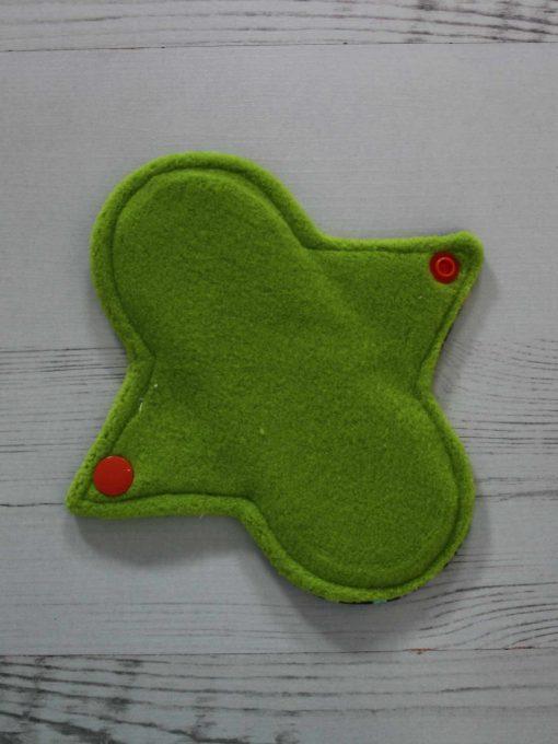 "6"" Regular Flow cloth pad | Rainbow Star Bridge Cotton Jersey | Green Wind Pro Fleece | Luna Landings | Sub"