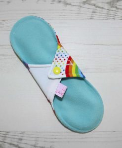 9″ Light Flow cloth pad | Rainbow Star Bridge White Cotton Jersey | Aqua Soft Shell | Luna Landings | Sub