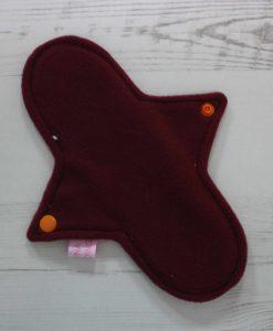 9″ Regular Flow cloth pad | Toadstools on Grey Cotton | Wine Wind Pro Fleece | Luna Landings | Sub