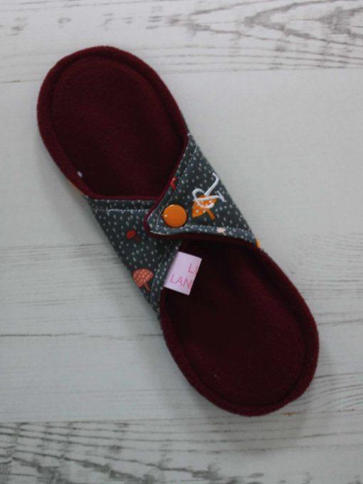 "9"" Regular Flow cloth pad | Toadstools on Grey Cotton | Wine Wind Pro Fleece | Luna Landings | Sub"