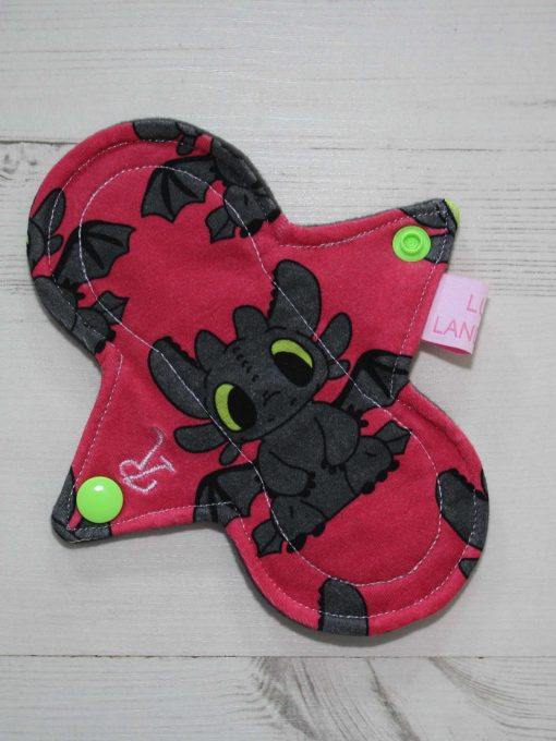"6"" Regular Flow cloth pad   Toothless Pink Cotton Jersey   Grey Wind Pro Fleece   Luna Landings   Slim Sub"