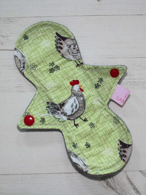 "8"" Light Flow cloth pad | Chickens Cotton | Grey Soft Shell | Luna Landings | Slim Sub"