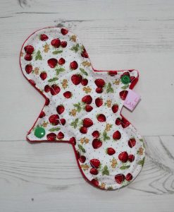 "8"" Light Flow cloth pad   Strawberry Cotton   Red Wind Pro Fleece   Luna Landings   Slim Sub"