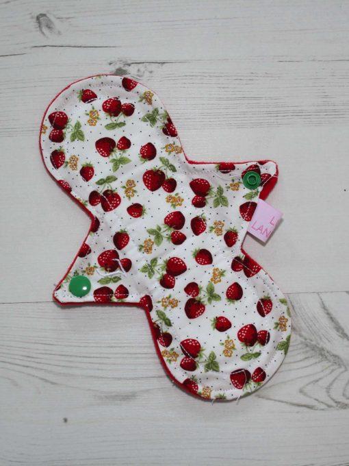 "8"" Light Flow cloth pad | Strawberry Cotton | Red Wind Pro Fleece | Luna Landings | Slim Sub"