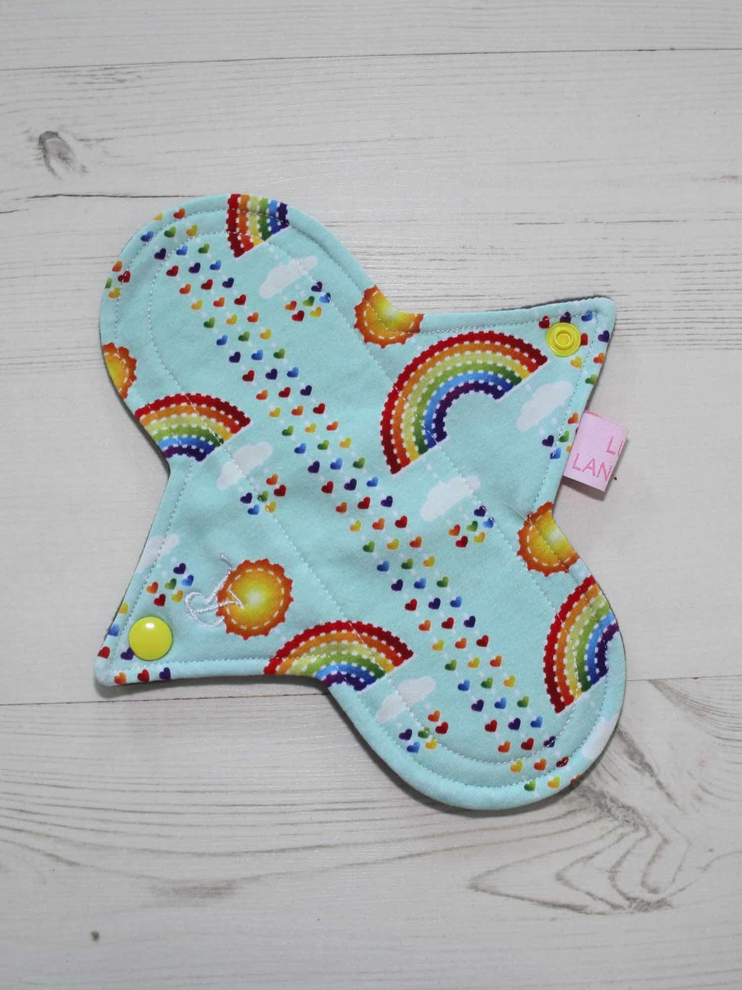 "8"" Regular Flow cloth pad | Rainbows on Mint Cotton Jersey | Grey Wind Pro Fleece | Luna Landings | Sub"