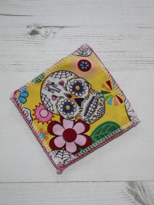 Day of the Dead Yellow Make-up remover wipes large - set of 5