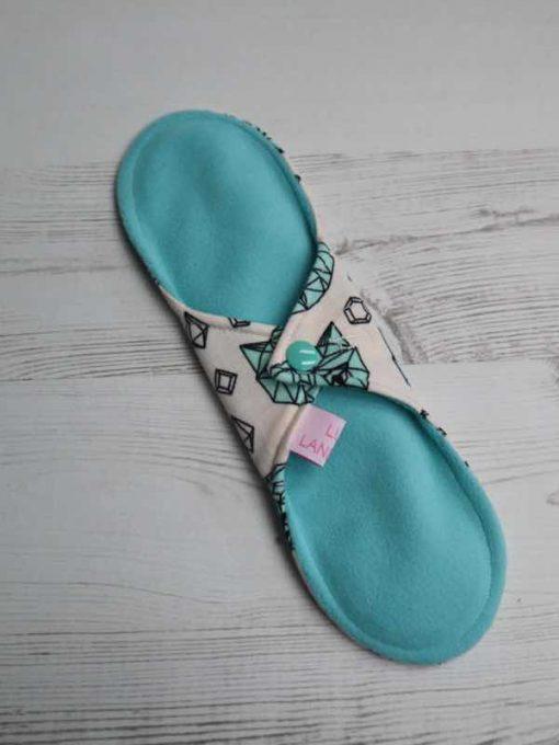 "10"" Regular Flow cloth pad | Crystal Cats Cotton Jersey | Blue Soft Shell | Luna Landings | Sub"