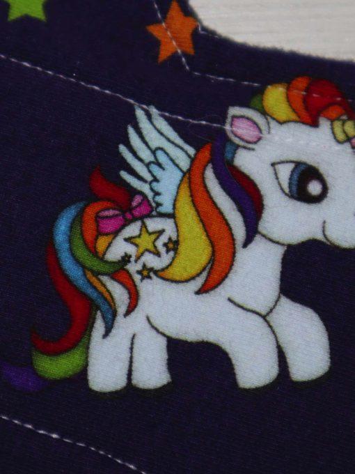 "12"" Heavy Flow cloth pad   Rainbow Unicorns Cotton Jersey   Black Wind Pro Fleece   Luna Landings   Double Flare"