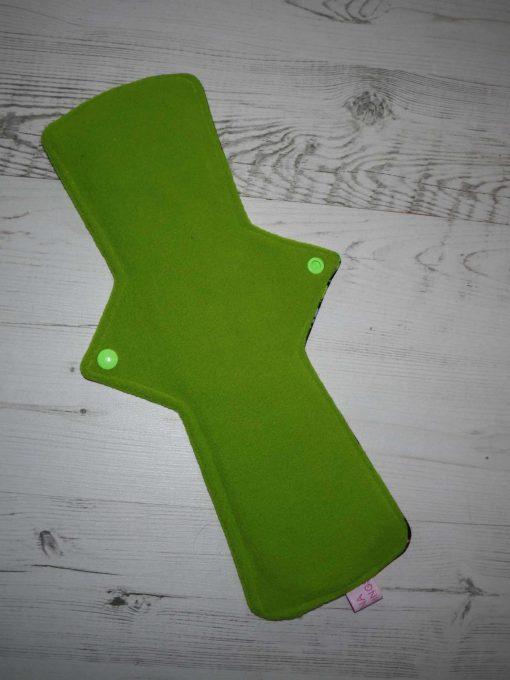 "14"" Heavy Flow cloth pad | Space Invaders Cotton Jersey | Green Wind Pro Fleece | Luna Landings | Double Flare"