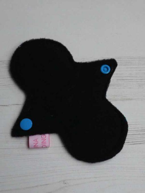 "6"" Light Flow cloth pad | Day of the Dead Black Cotton | Black Polar Fleece | Luna Landings | Slim Sub"