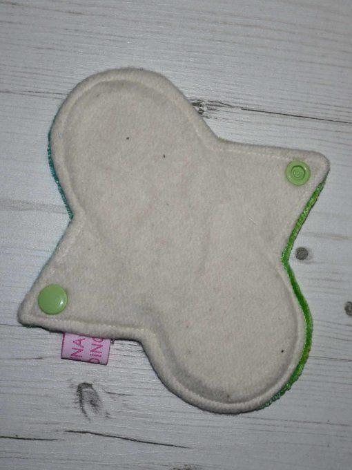 "6"" Light Flow cloth pad | Green Dye Bamboo Velour | Cream Organic Cotton Fleece | Luna Landings | Sub"