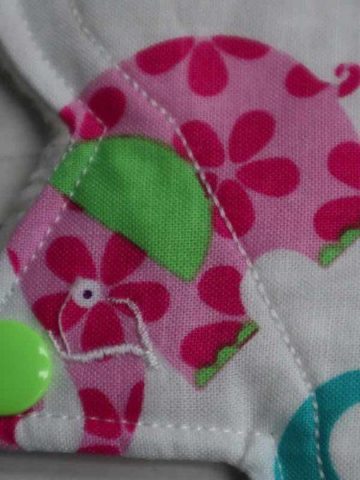 "6"" Light Flow cloth pad | Patchwork Elephants Cotton | Cream Polar Fleece | Luna Landings | Slim Sub"