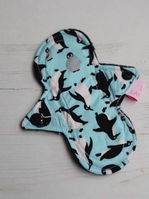 "6"" Light Flow cloth pad   Penguins on Blue Cotton   Black Polar Fleece   Luna Landings   Slim Sub"