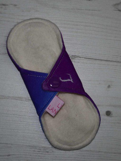 "6"" Light Flow cloth pad | Purple Ombre Cotton Jersey | Cream Organic Cotton Fleece | Luna Landings | Sub"
