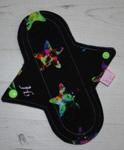 "8"" Heavy Flow cloth pad | Neon Galaxy Stars Cotton Jersey | Grey Wind Pro Fleece | Luna Landings | Sub"