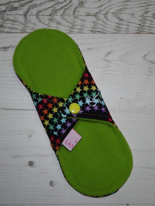 "8"" Regular Flow cloth pad | Rainbow Star Bridge Cotton Jersey | Green Wind Pro Fleece | Luna Landings | Sub"