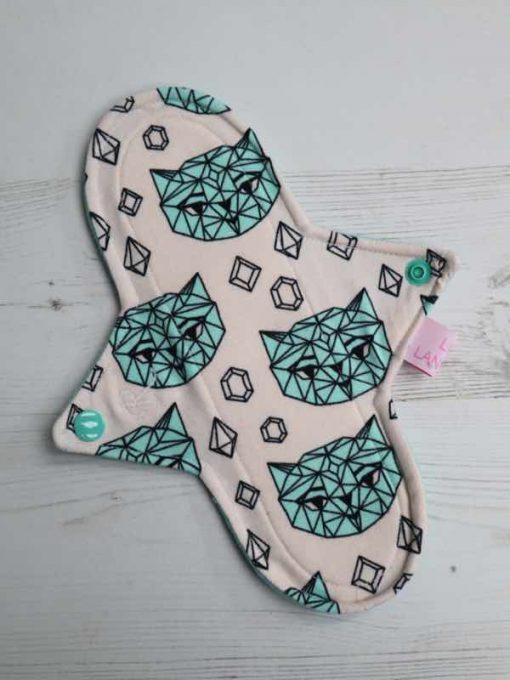 "9"" Regular Flow cloth pad | Crystal Cats Cotton Jersey | Blue Soft Shell | Luna Landings | Sub"