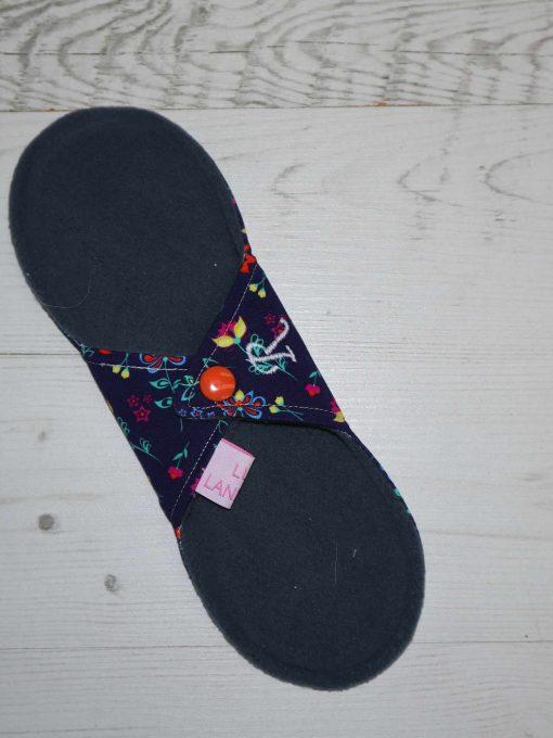 "9"" Regular Flow cloth pad | Wildflowers Navy Cotton Jersey | Grey Wind Pro Fleece | Luna Landings | Sub"