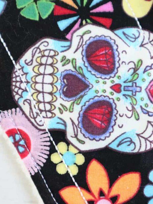 "10"" Light Flow cloth pad | Day of the Dead Black Cotton | White Polar Fleece | Luna Landings | Sub"