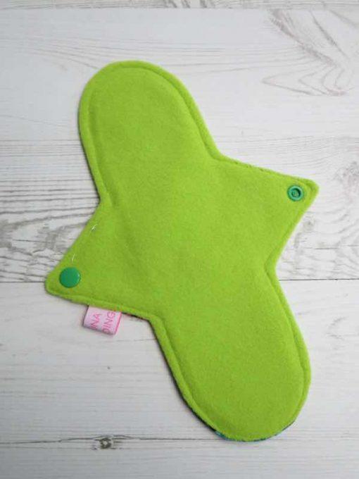 "10"" Regular Flow cloth pad   Beeometry Cotton Jersey   Green Wind Pro Fleece   Luna Landings   Sub"