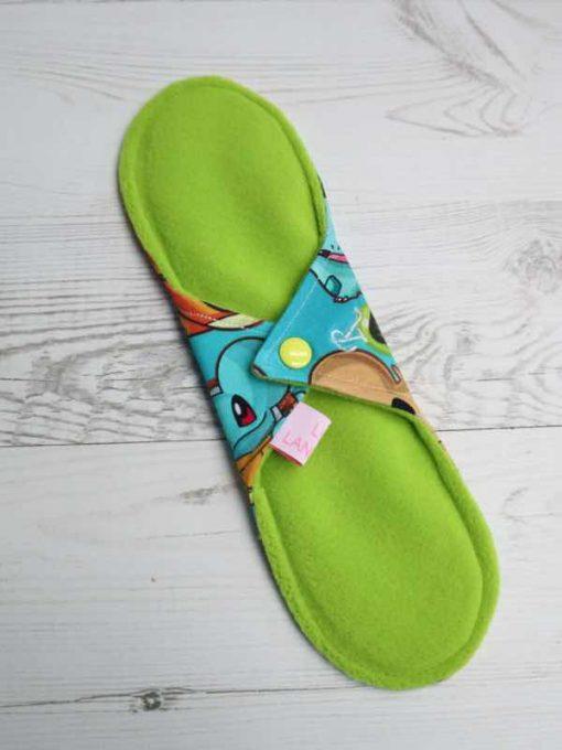 "10"" Regular Flow cloth pad | Catch Em All Cotton Jersey | Green Wind Pro Fleece | Luna Landings | Sub"