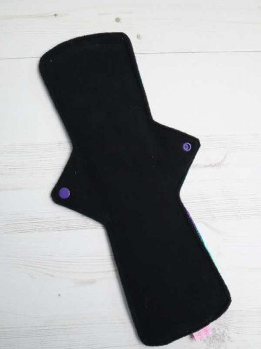 "14"" Heavy Flow cloth pad | Frozen Illusion Plush | Black Wind Pro Fleece | Luna Landings | Double Flare"