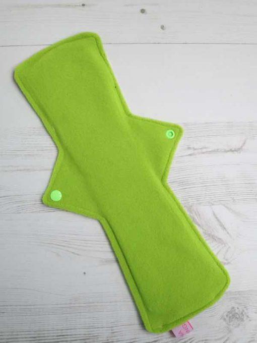 "14"" Overnight Extra Heavy Flow cloth pad   Neon Galaxy Cotton Jersey   Green Wind Pro Fleece   Luna Landings   Double Flare"