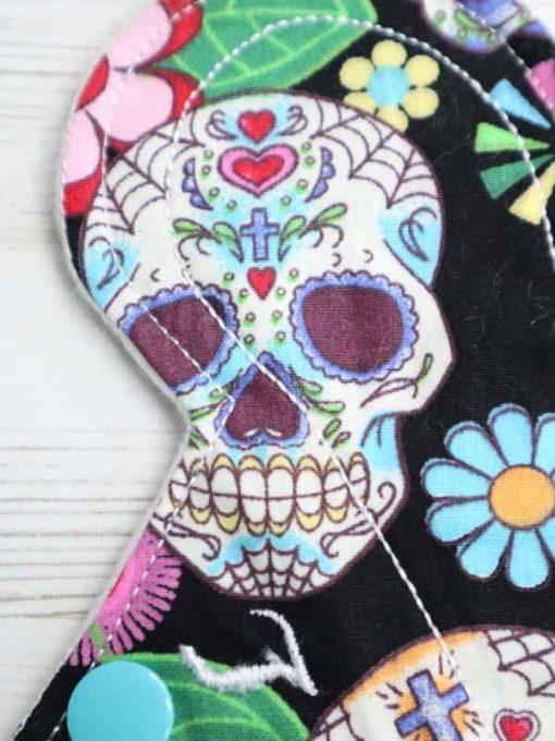 "6"" Light Flow cloth pad | Day of the Dead Black Cotton | Cream Organic Cotton Fleece | Luna Landings | Slim Sub"