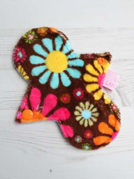 "6"" Regular Flow cloth pad | Flower Power Plush | Cream Organic Cotton Fleece | Luna Landings | Slim Sub"