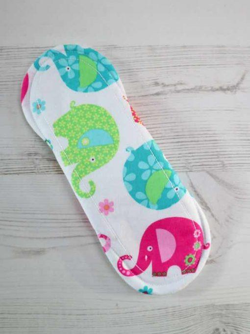 "8"" Light Flow cloth pad   Patchwork Elephants Cotton   White Polar Fleece   Luna Landings   Sub"