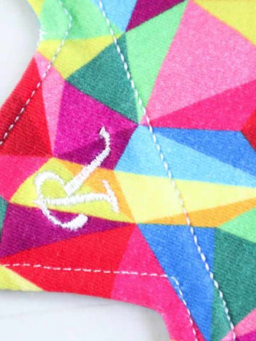 "9"" Regular Flow cloth pad | Kaleidescope Cotton Jersey | Green Wind Pro Fleece | Luna Landings | Slim Sub"