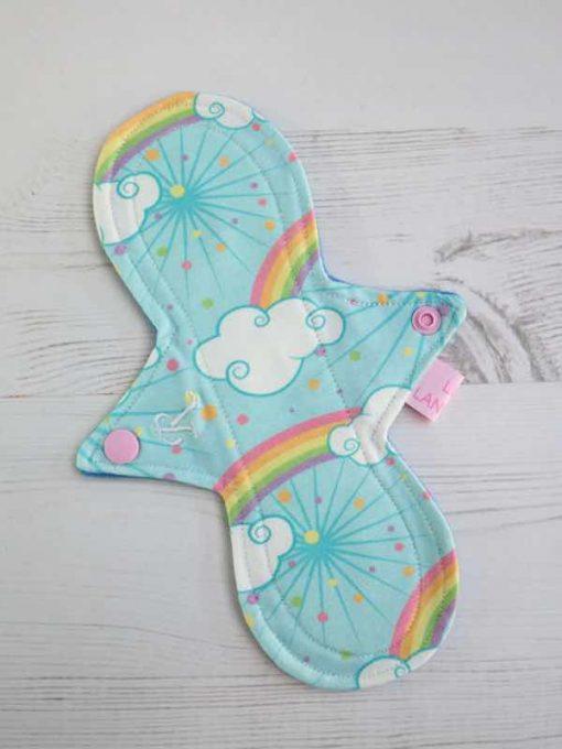 "9"" Regular Flow cloth pad | Pastel Rainbows Cotton Jersey | Blue Wind Pro Fleece | Luna Landings | Slim Sub"