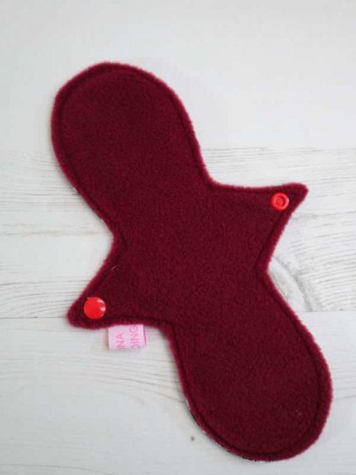 "10"" Light Flow cloth pad | The Walking Dead Cotton | Wine Polar Fleece | Luna Landings | Slim Sub"