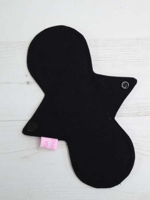 "8"" Regular Flow cloth pad | Black Cotton Jersey | Black Cotton Jersey | Luna Landings | Slim Sub"
