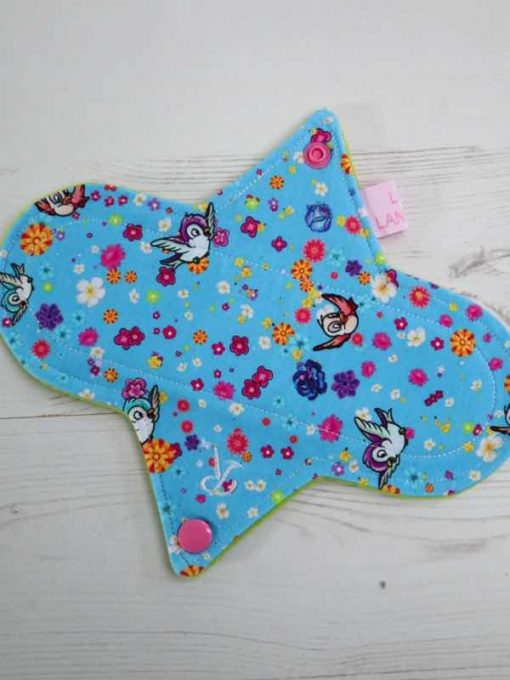 "8"" Regular Flow cloth pad | Pink Pirates Cotton Jersey | Black Wind Pro Fleece | Luna Landings | Slim Sub"