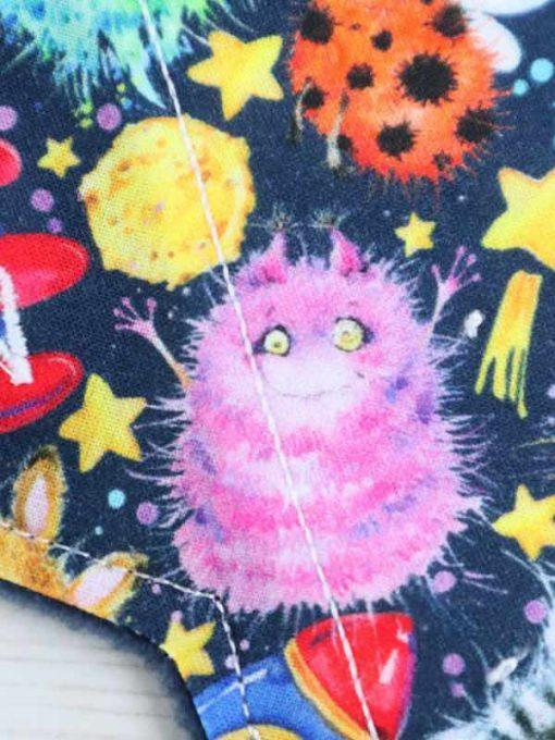 "9"" Light Flow cloth pad | Alien Invasion Cotton Jersey | Black Polar Fleece | Luna Landings | Sub"
