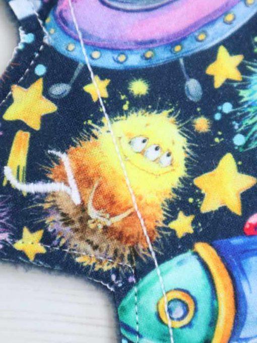 "9"" Light Flow cloth pad | Alien Invasion Cotton Jersey | Navy Polar Fleece | Luna Landings | Slim Sub"