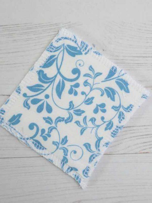 Leaf Scroll Blue Ivory Make-up remover wipes - set of 5